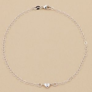 Puff Heart Anklet 925 Sterling Silver